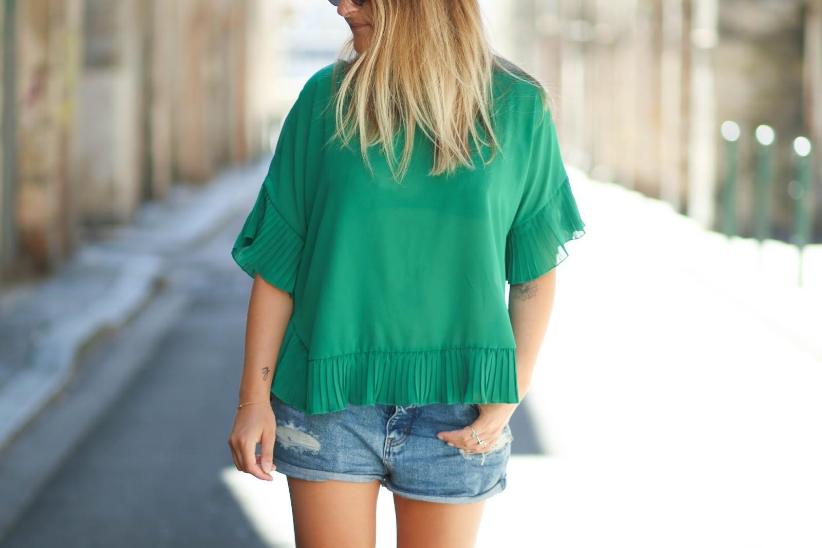 look blouse verte parisgrenoble